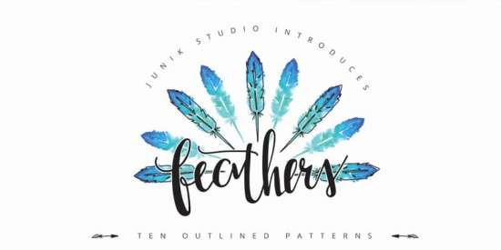 free_watercolor_feather_elements_and_patterns_png_ai