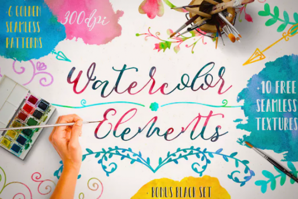 watercolor_elements_and_free_textures