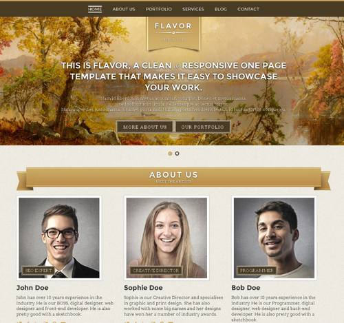 32 flavor premium one page responsive template